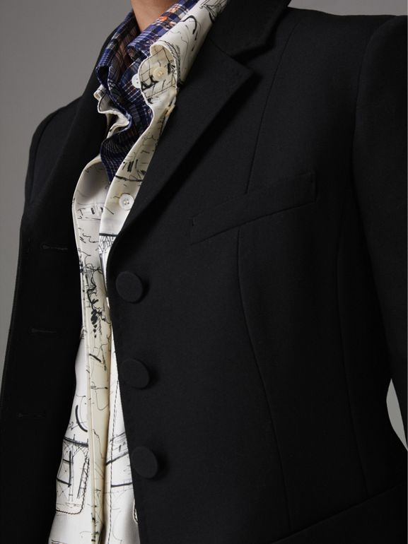 Wool Twill Tailored Jacket in Black - Women | Burberry United Kingdom - cell image 1
