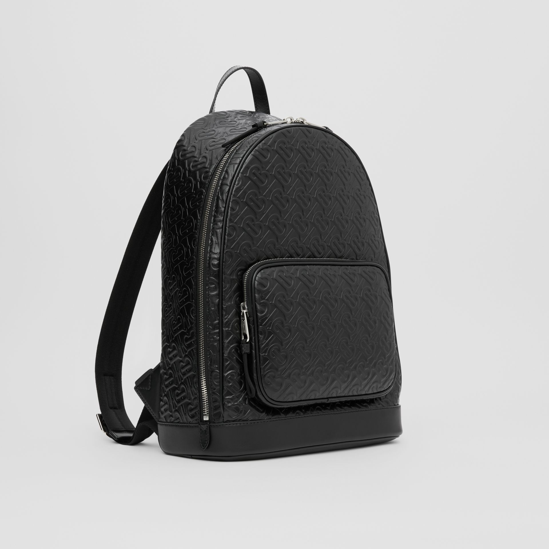 Monogram Leather Backpack in Black - Men | Burberry - gallery image 6