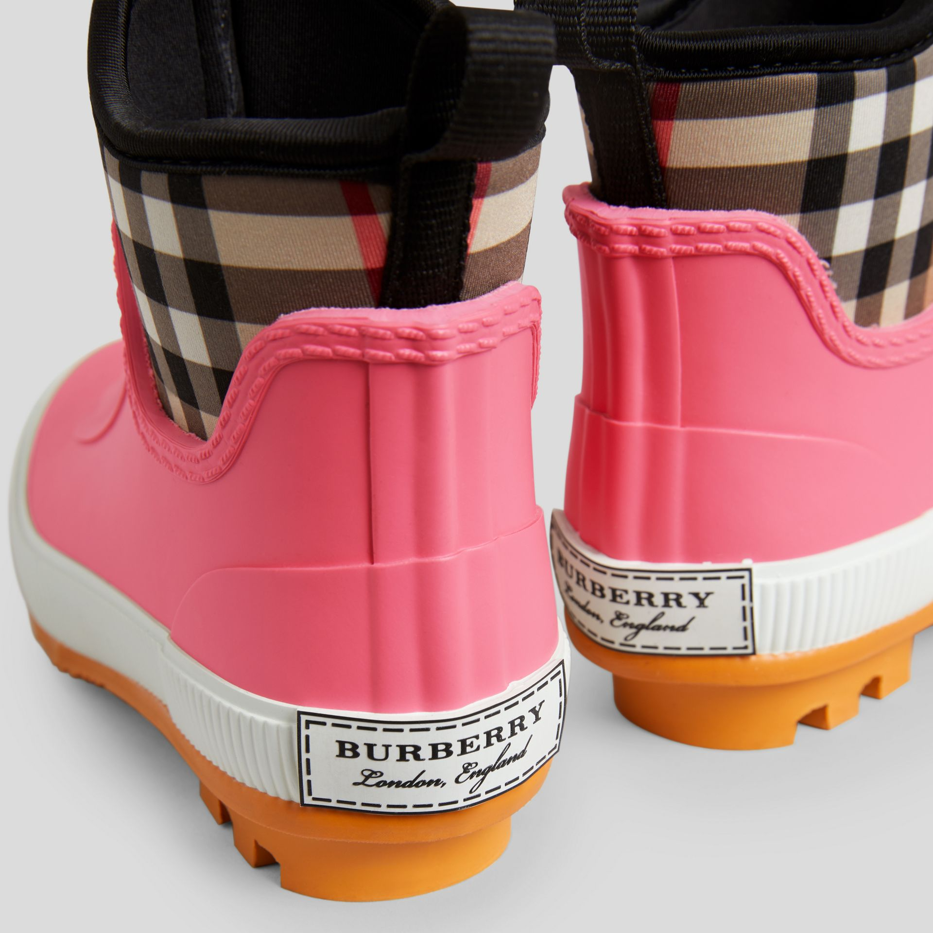 Vintage Check Neoprene and Rubber Rain Boots in Pink Azalea - Children | Burberry Singapore - gallery image 0