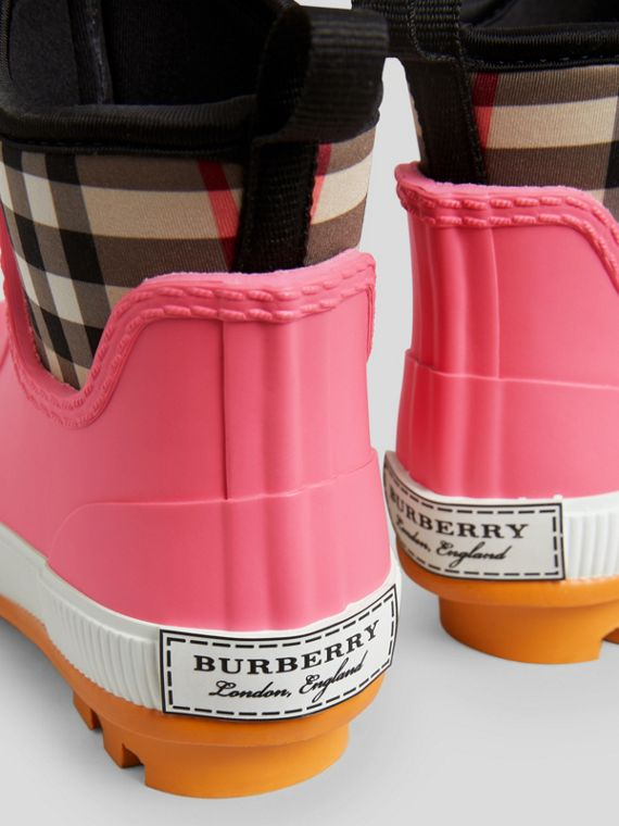 Vintage Check Neoprene and Rubber Rain Boots in Pink Azalea