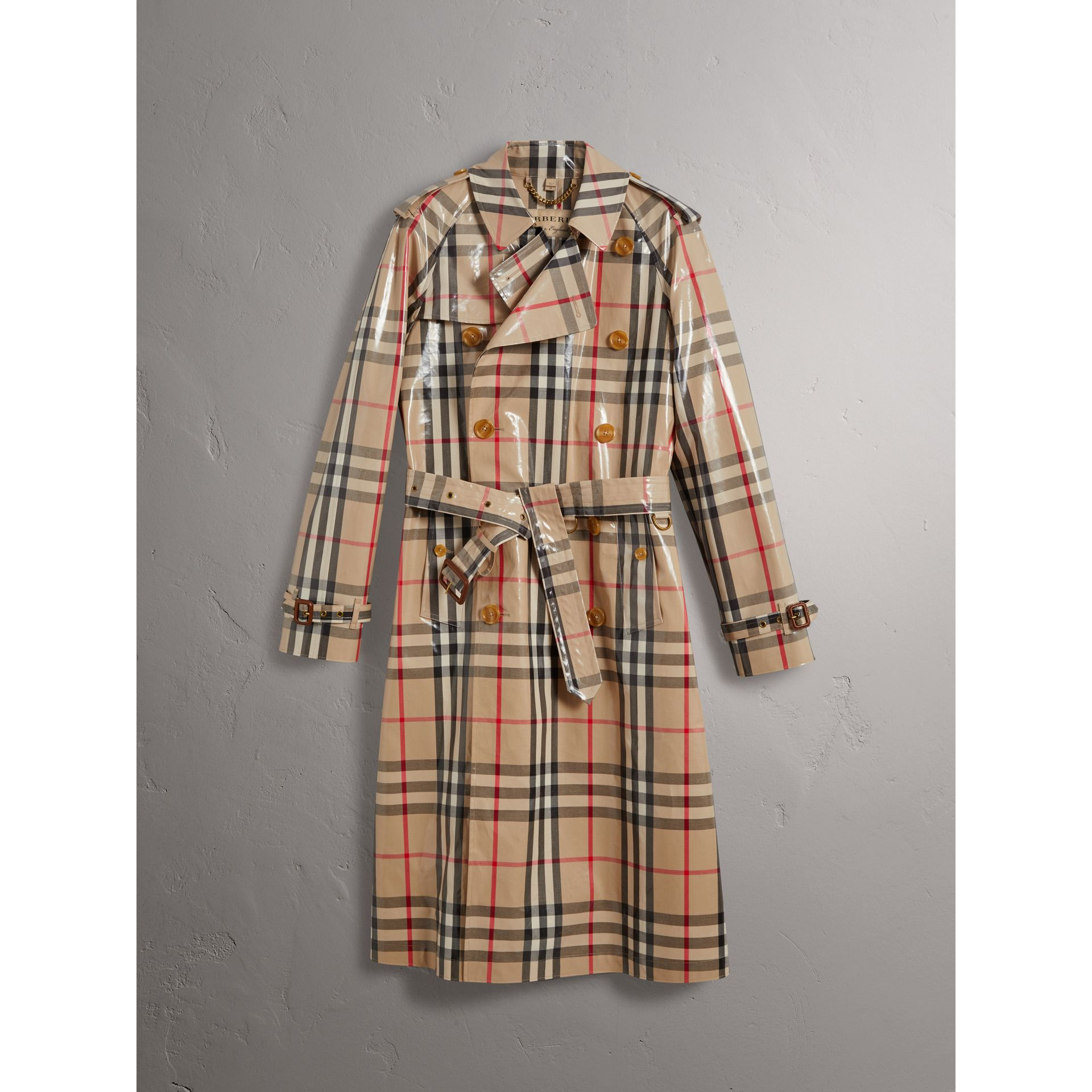 Laminated Check Cotton Trench Coat in New Classic - Men | Burberry United Kingdom - gallery image 3