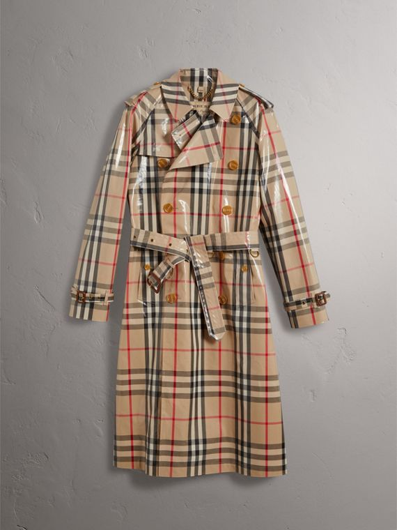Laminated Check Cotton Trench Coat in New Classic
