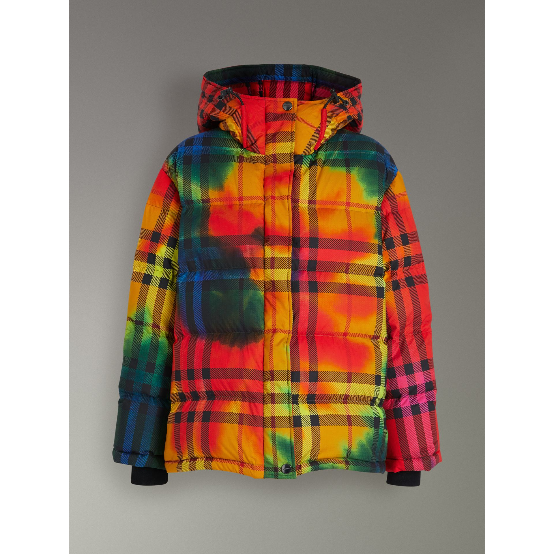 Tie-dye Print Vintage Check Puffer Jacket in Multicolour - Women | Burberry - gallery image 3