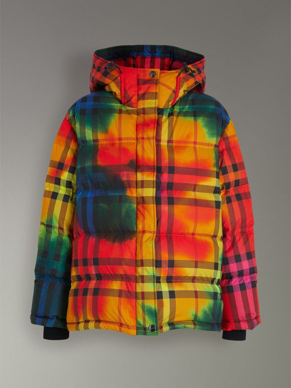 Tie-dye Print Vintage Check Puffer Jacket in Multicolour - Women | Burberry - cell image 3