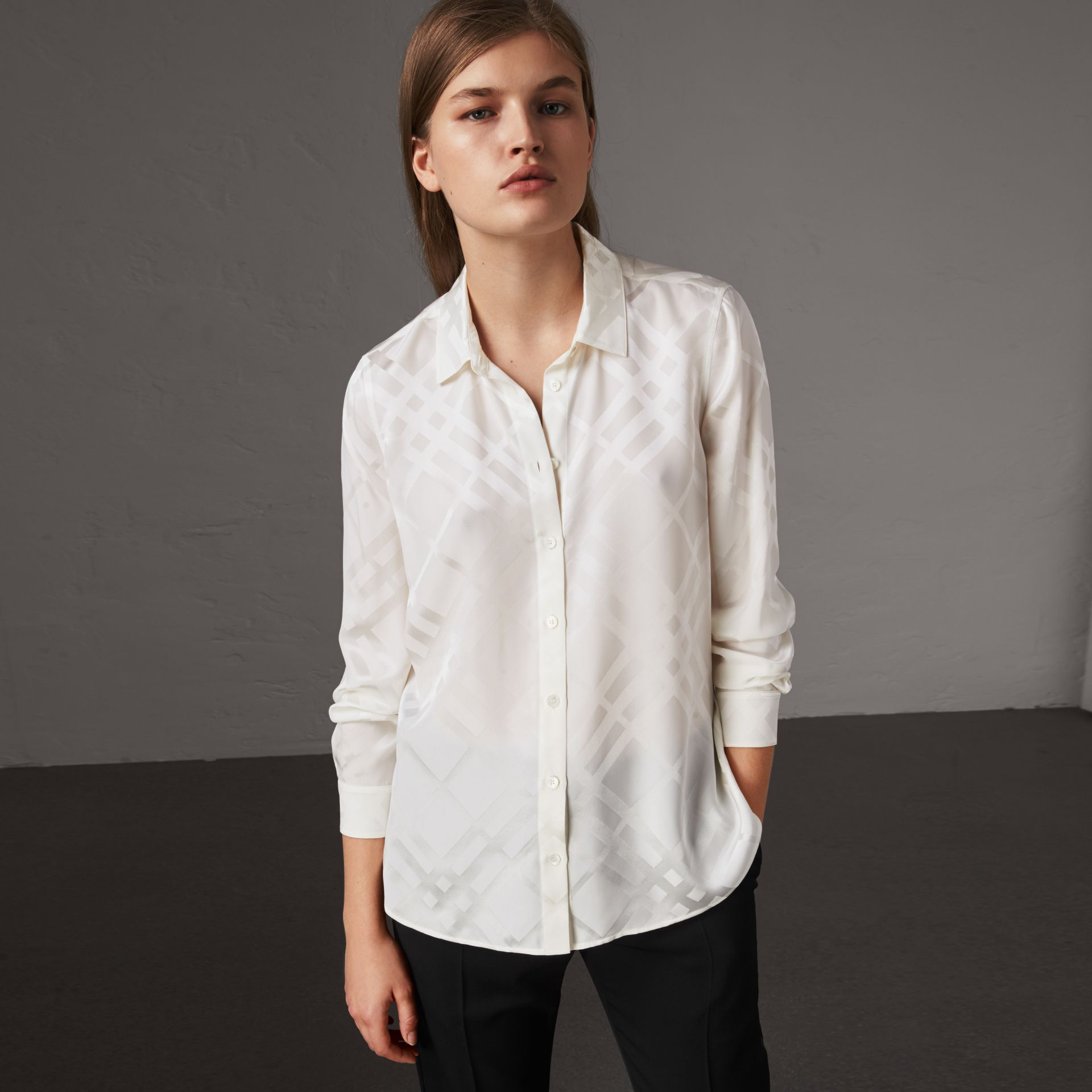 Tonal Check Silk Shirt in White - Women | Burberry - gallery image 0