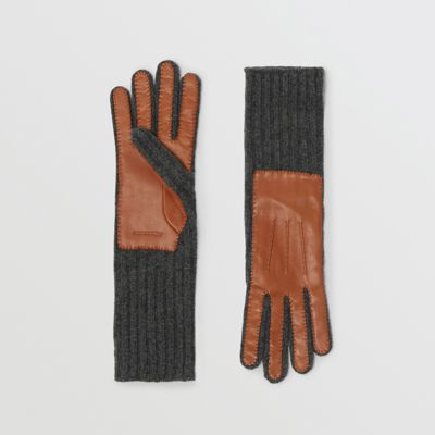 Cashmere And Lambskin Gloves in Tan/Charcoal