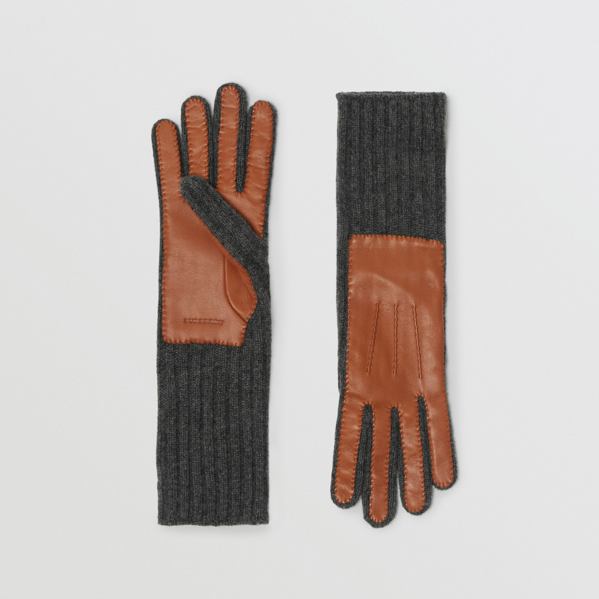 Cashmere and Lambskin Gloves in Tan/charcoal - Women | Burberry United Kingdom - gallery image 0
