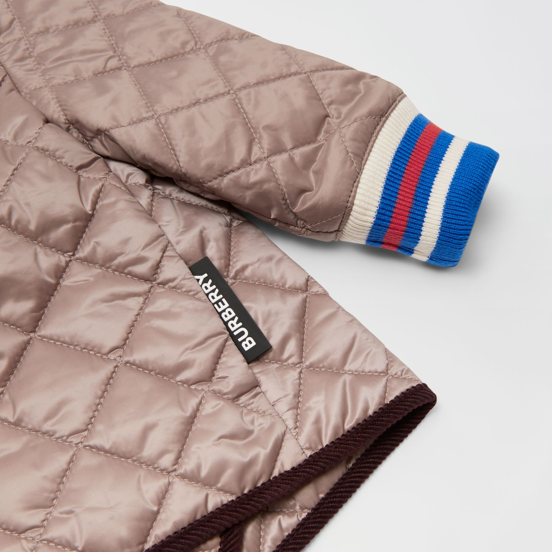 Corduroy Trim Lightweight Diamond Quilted Jacket in Grey Mink - Children | Burberry United Kingdom - gallery image 1