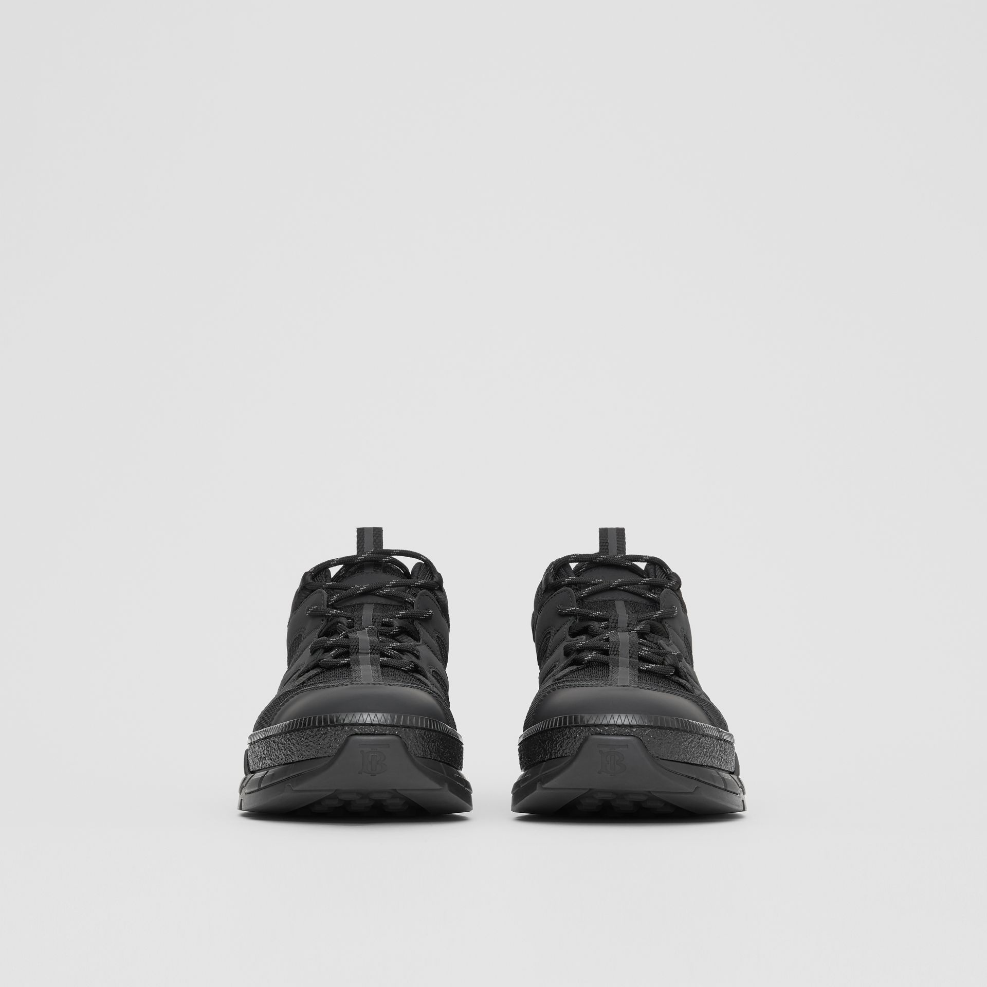 Monogram Motif Mesh and Nubuck Sneakers in Black - Men | Burberry - gallery image 2