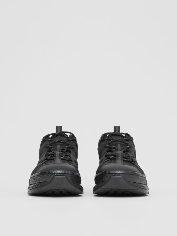Mesh and Nubuck Union Sneakers in Black - Men | Burberry Canada - cell image 2
