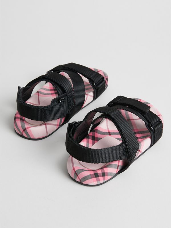 Ripstop Strap Check Cotton Sandals in Bright Rose | Burberry - cell image 2