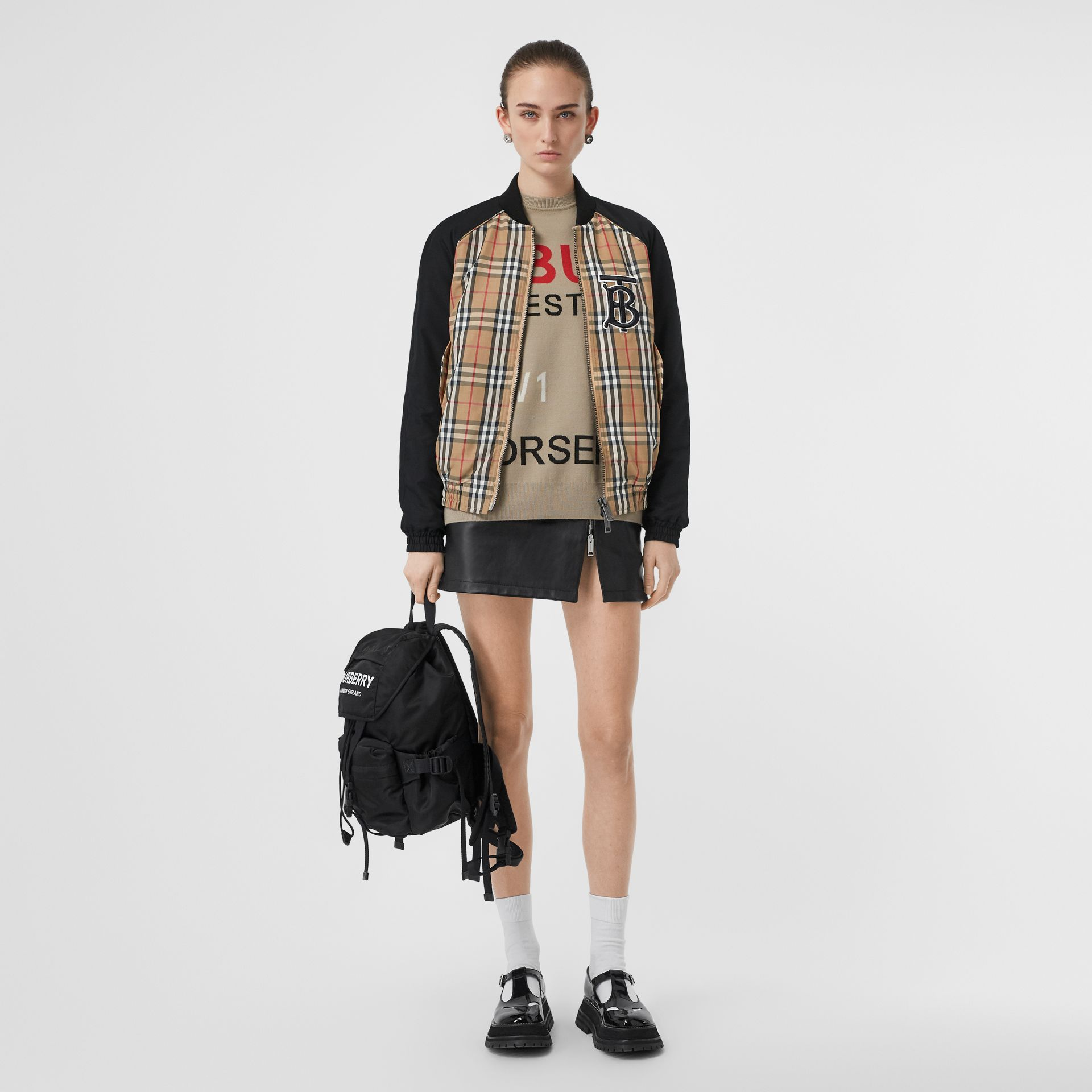 Monogram Motif Vintage Check Bomber Jacket in Black - Women | Burberry Singapore - gallery image 0