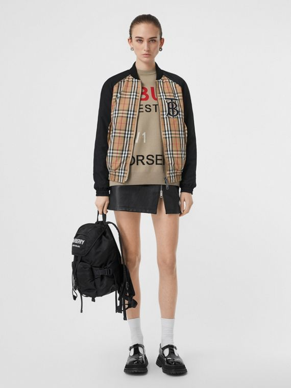 Monogram Motif Vintage Check Bomber Jacket in Black