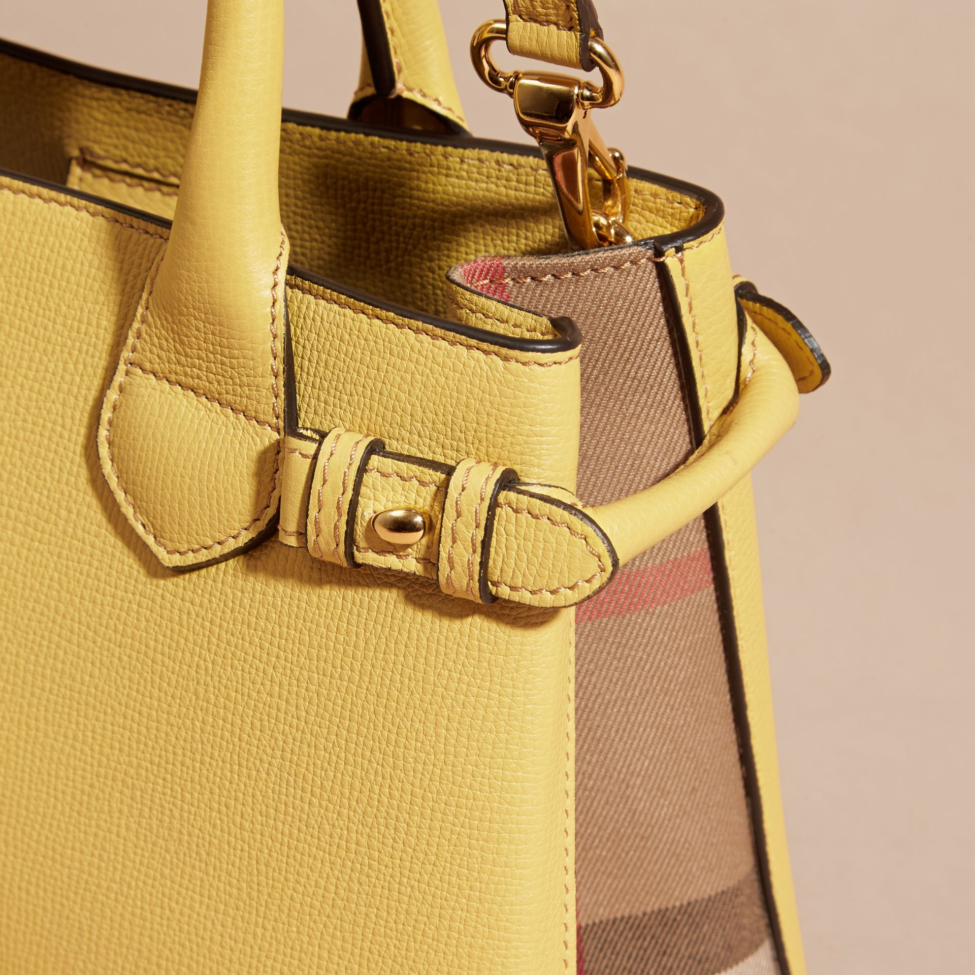 The Small Banner in Leather and House Check in Citrus Yellow - gallery image 2