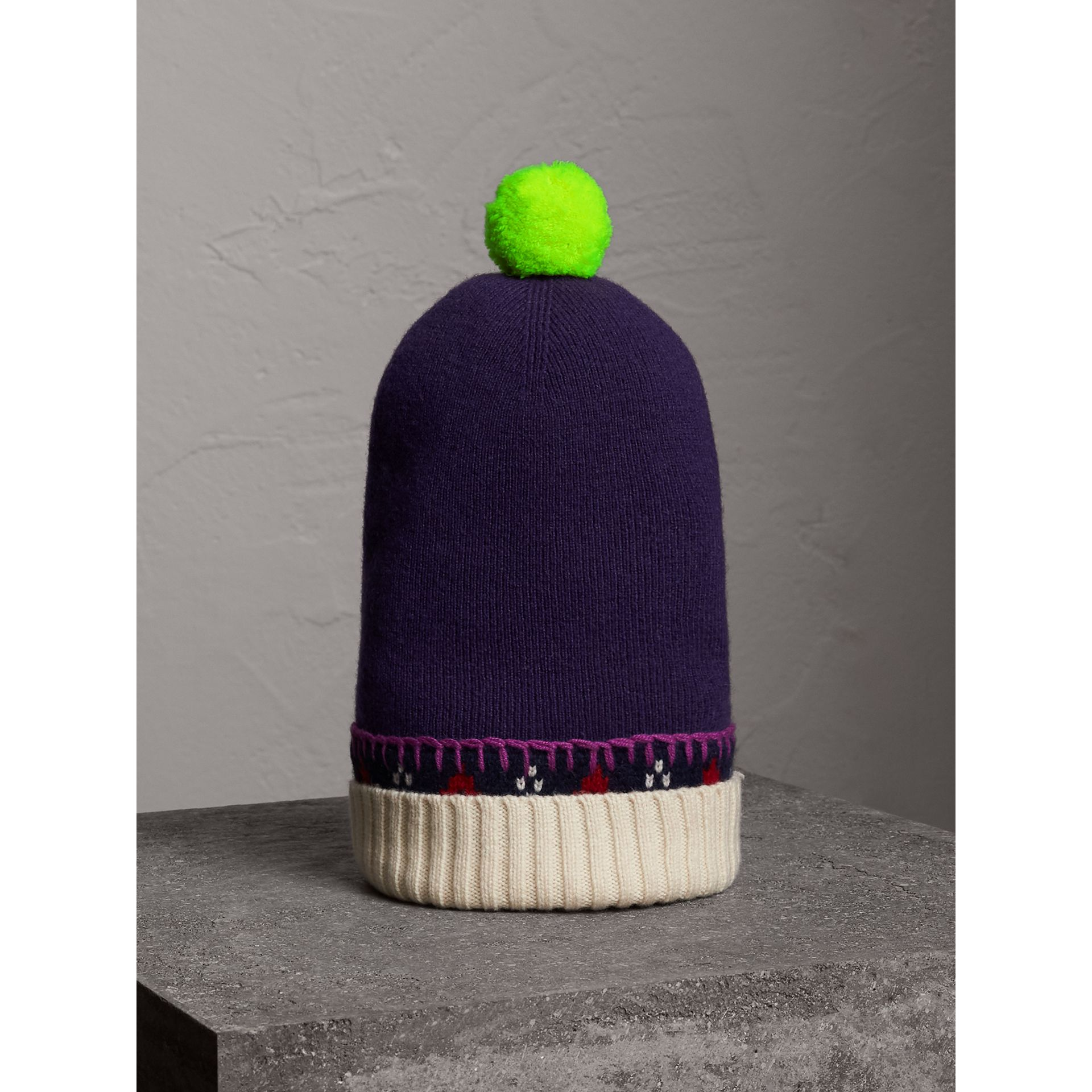 Pom-pom Cashmere Wool Beanie in Purple Grape | Burberry United Kingdom - gallery image 1