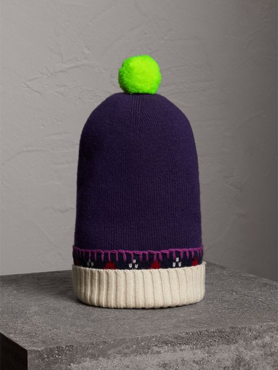Cappellino in cashmere e lana con pompon (Uva Viola)