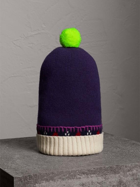 Вязаная шапка с помпоном (Пурпурный Виноград)