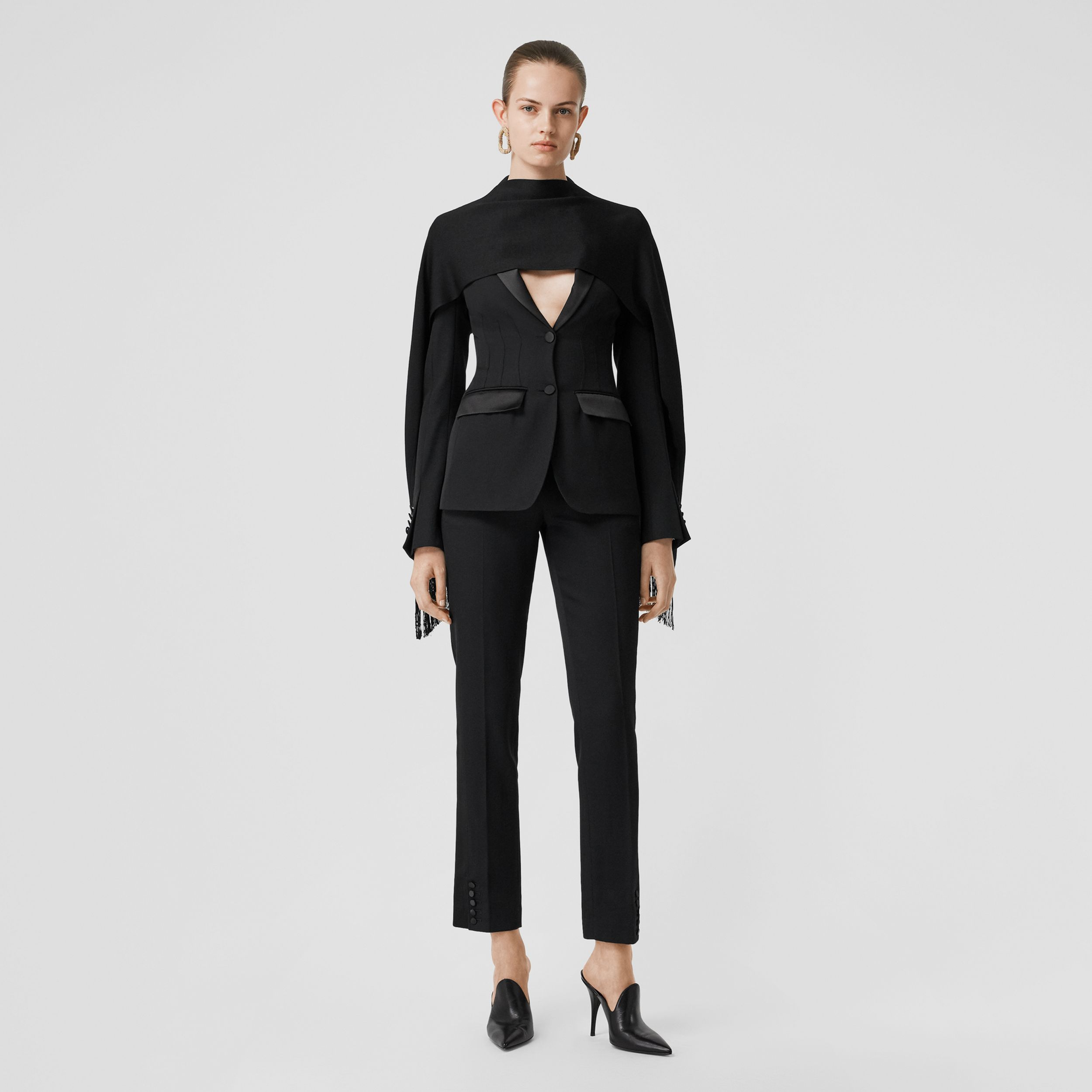 Silk Trim Wool Tailored Jacket in Black - Women | Burberry Canada - 1
