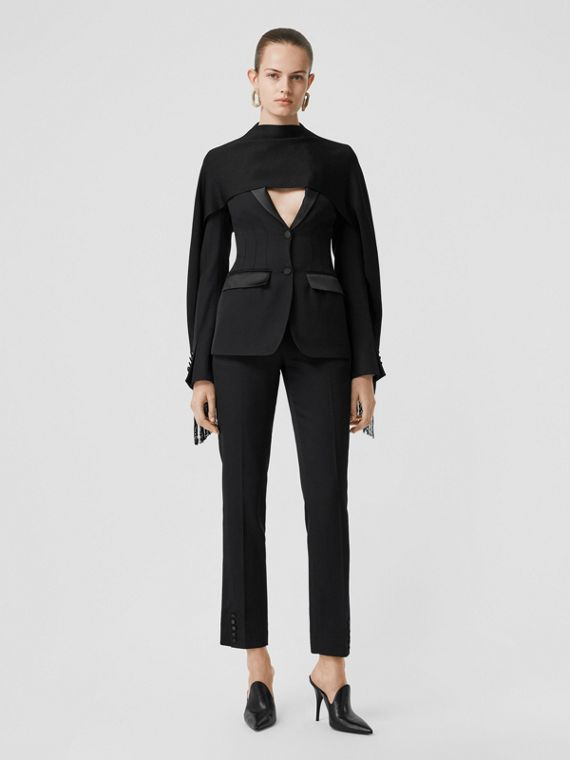 Silk Trim Wool Tailored Jacket in Black