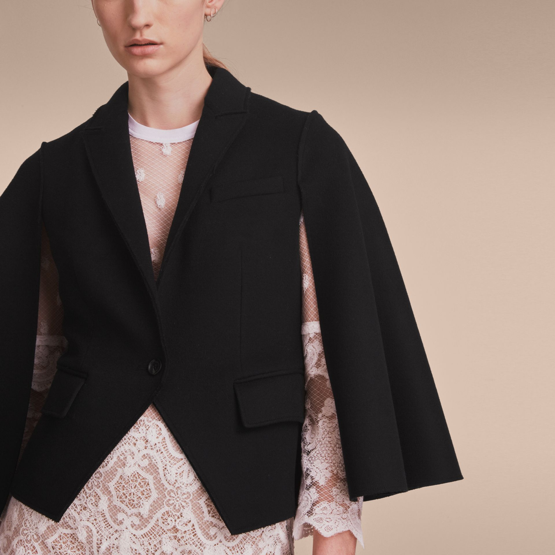 Double-faced Wool Cape Jacket in Black - Women | Burberry - gallery image 5