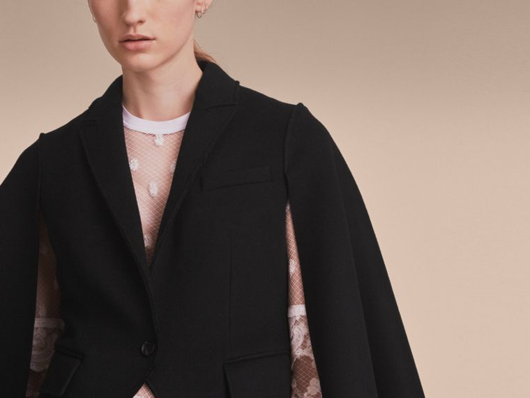 Double-faced Wool Cape Jacket in Black - Women | Burberry - cell image 4