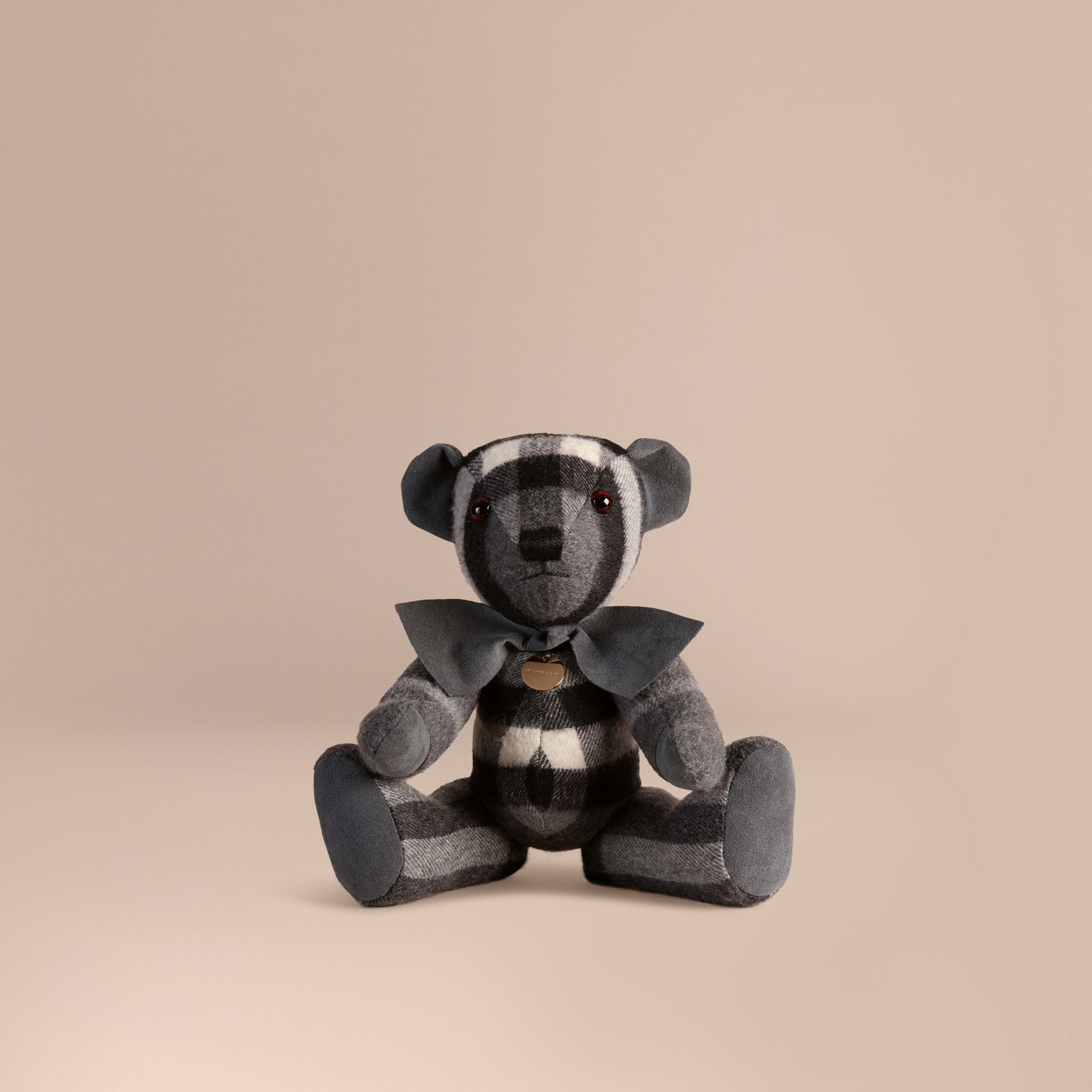Mid grey Thomas Bear in Check Cashmere Mid Grey - gallery image 1