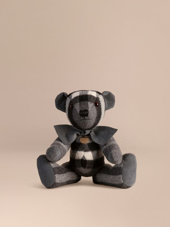 Thomas Bear in Check Cashmere in Mid Grey
