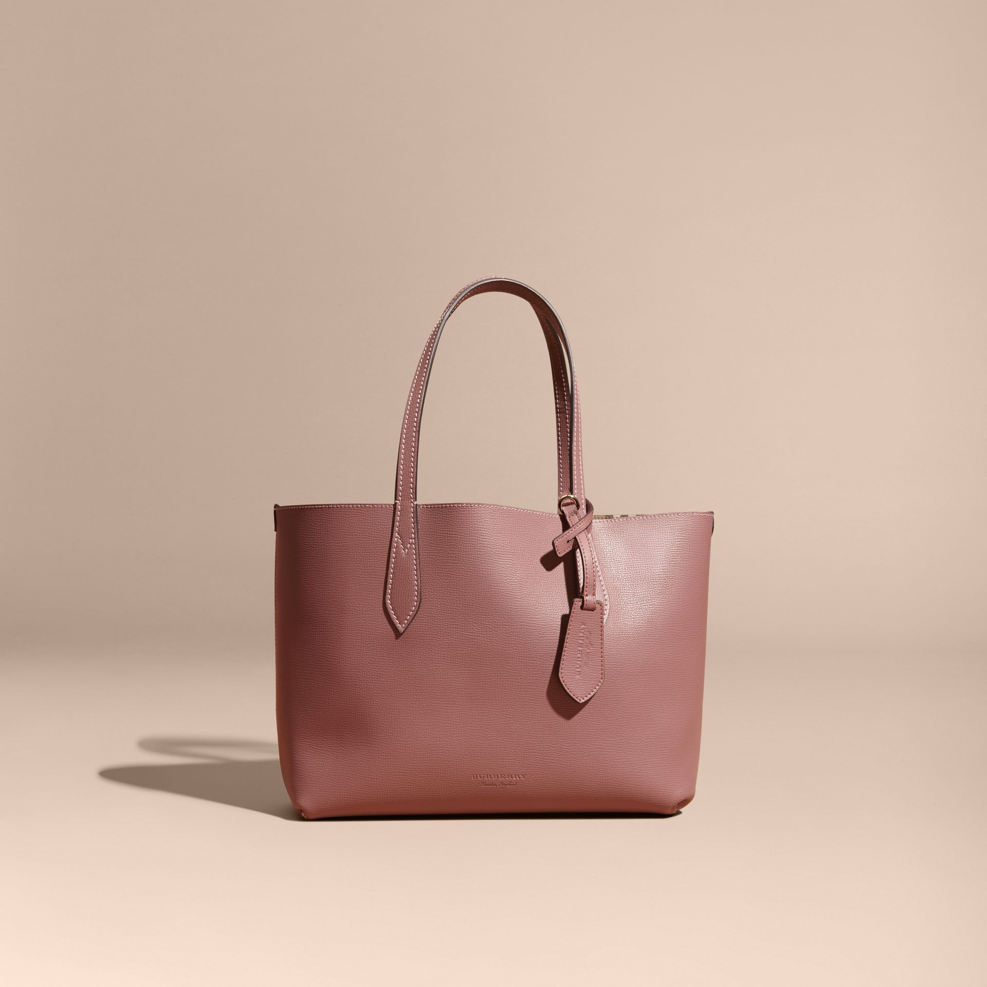 The Small Reversible Tote in Haymarket Check and Leather in Light Elderberry - Women | Burberry - gallery image 9