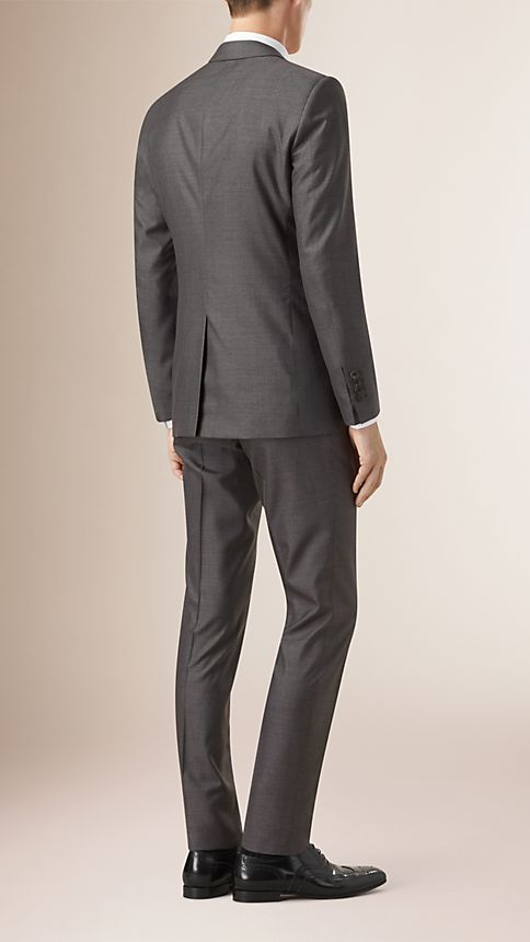 Camaïeu de gris sombres Costume de coupe étroite en laine et soie - Image 2