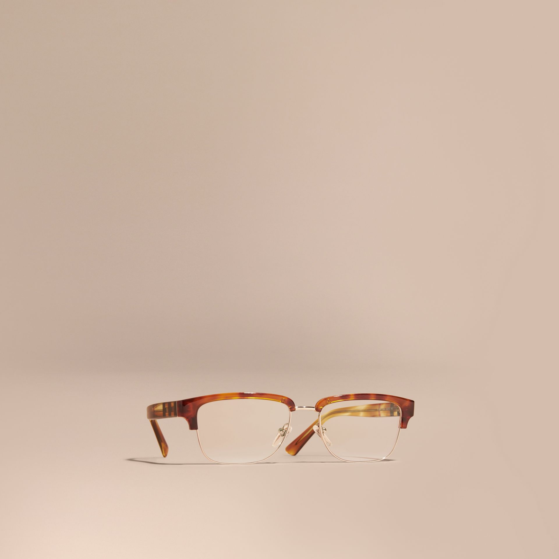 Half-rimmed Oval Optical Frames Light Russet Brown - gallery image 1