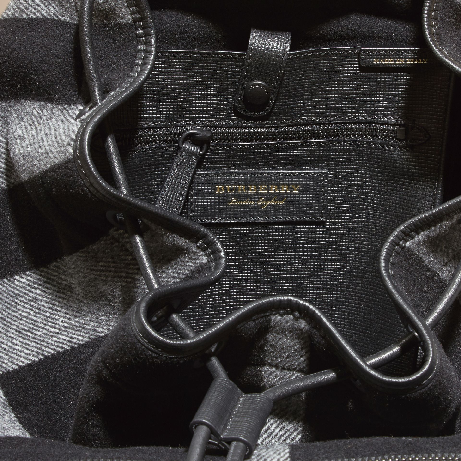 Black The Large Rucksack in Check Wool Blend and Leather Black - gallery image 5