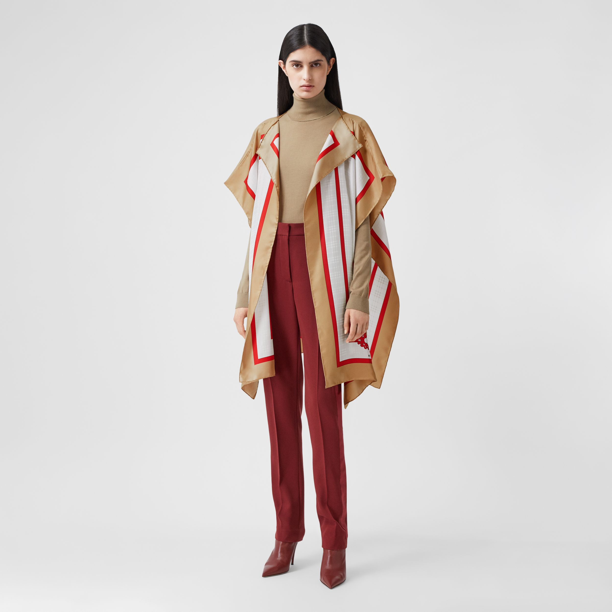 Archive Scarf Print Silk Twill Cape in Honey - Women | Burberry - 1