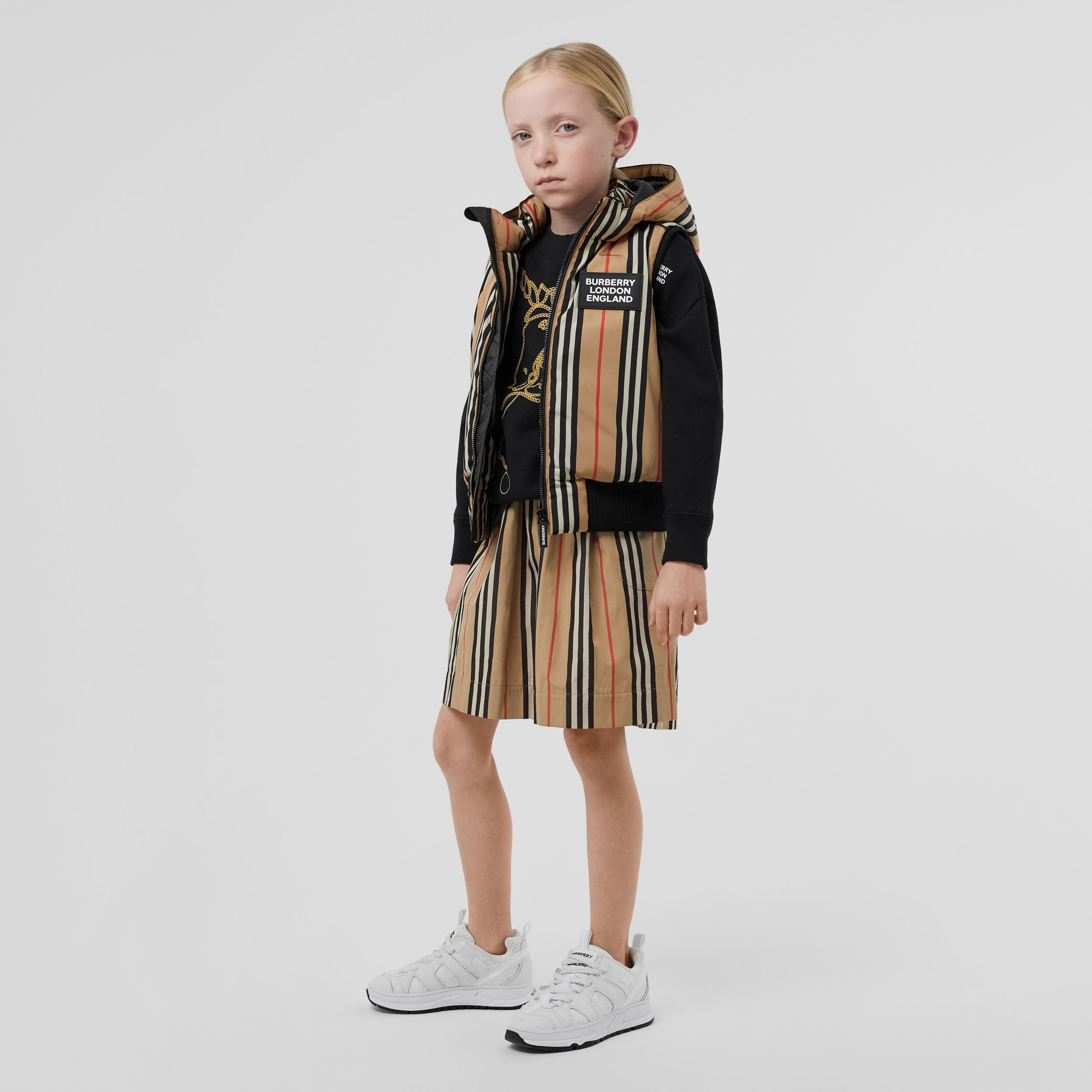 Detachable Hood Icon Stripe Puffer Gilet in Archive Beige | Burberry United States - 3