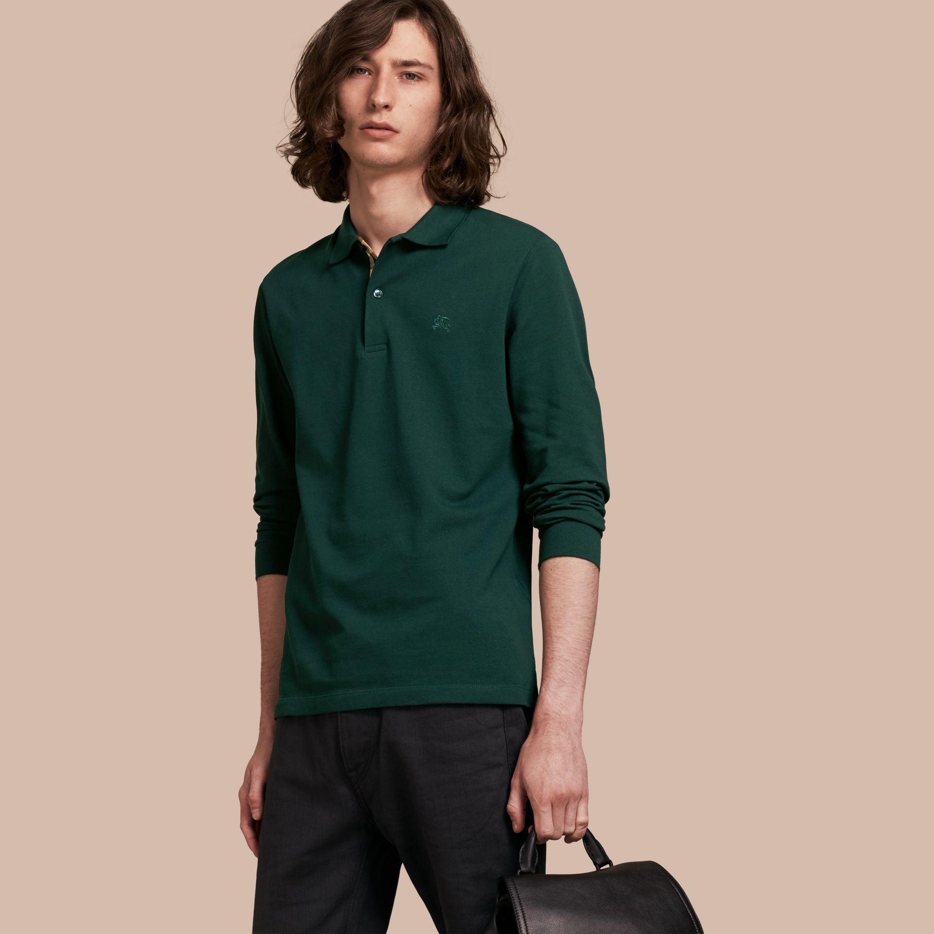 Racing green Check Placket Long Sleeve Polo Shirt Racing Green - gallery image 6