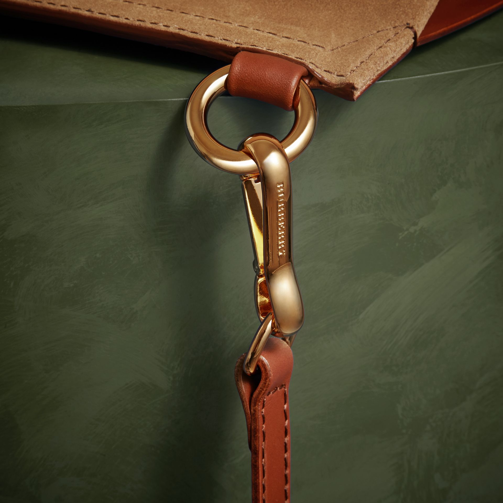 The Small Bridle Bag in Leather and Suede in Tan - Men | Burberry - gallery image 6