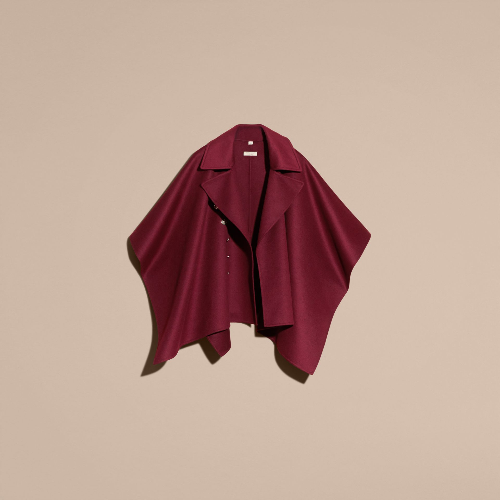 Burgundy Military Button Wool Cashmere Blend Cape Burgundy - gallery image 4