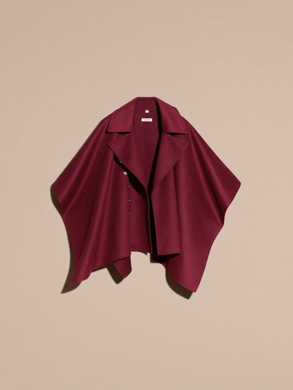 Burgundy Military Button Wool Cashmere Blend Cape Burgundy - cell image 3