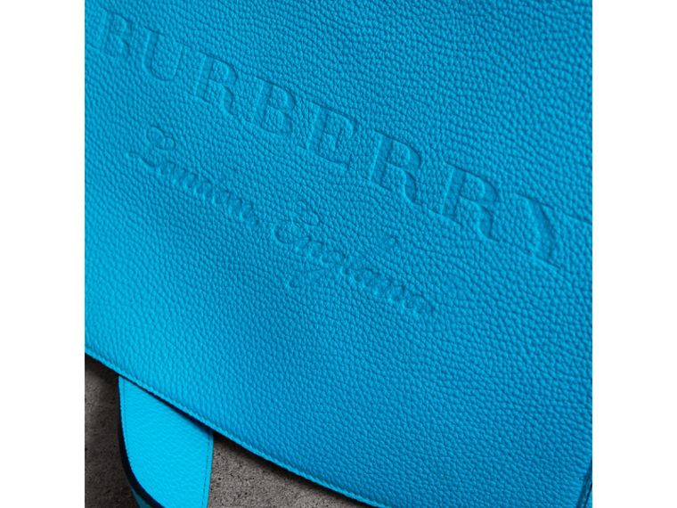 Large Embossed Leather Messenger Bag in Neon Blue | Burberry - cell image 1