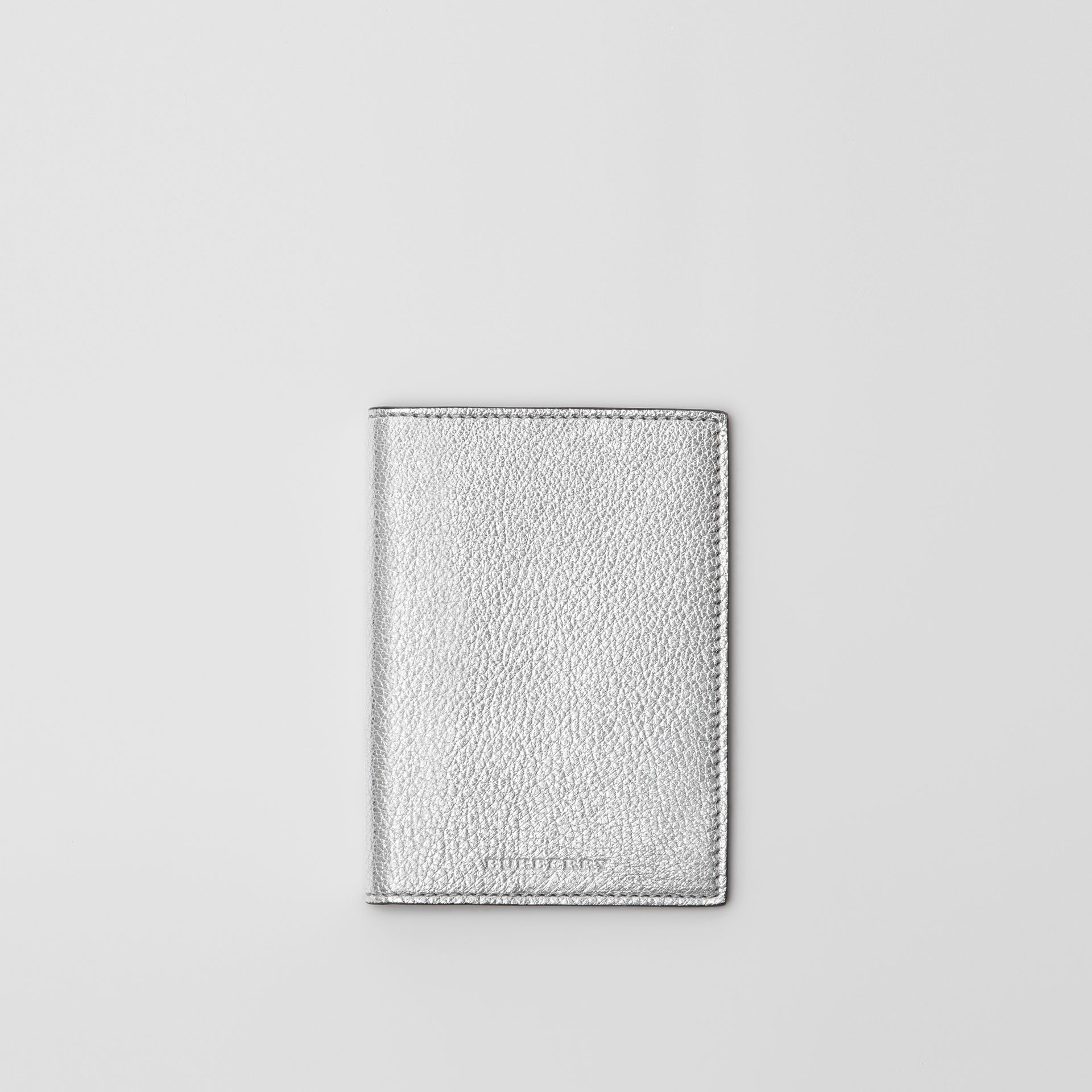 Metallic Leather Passport Holder in Silver - Women | Burberry - gallery image 0