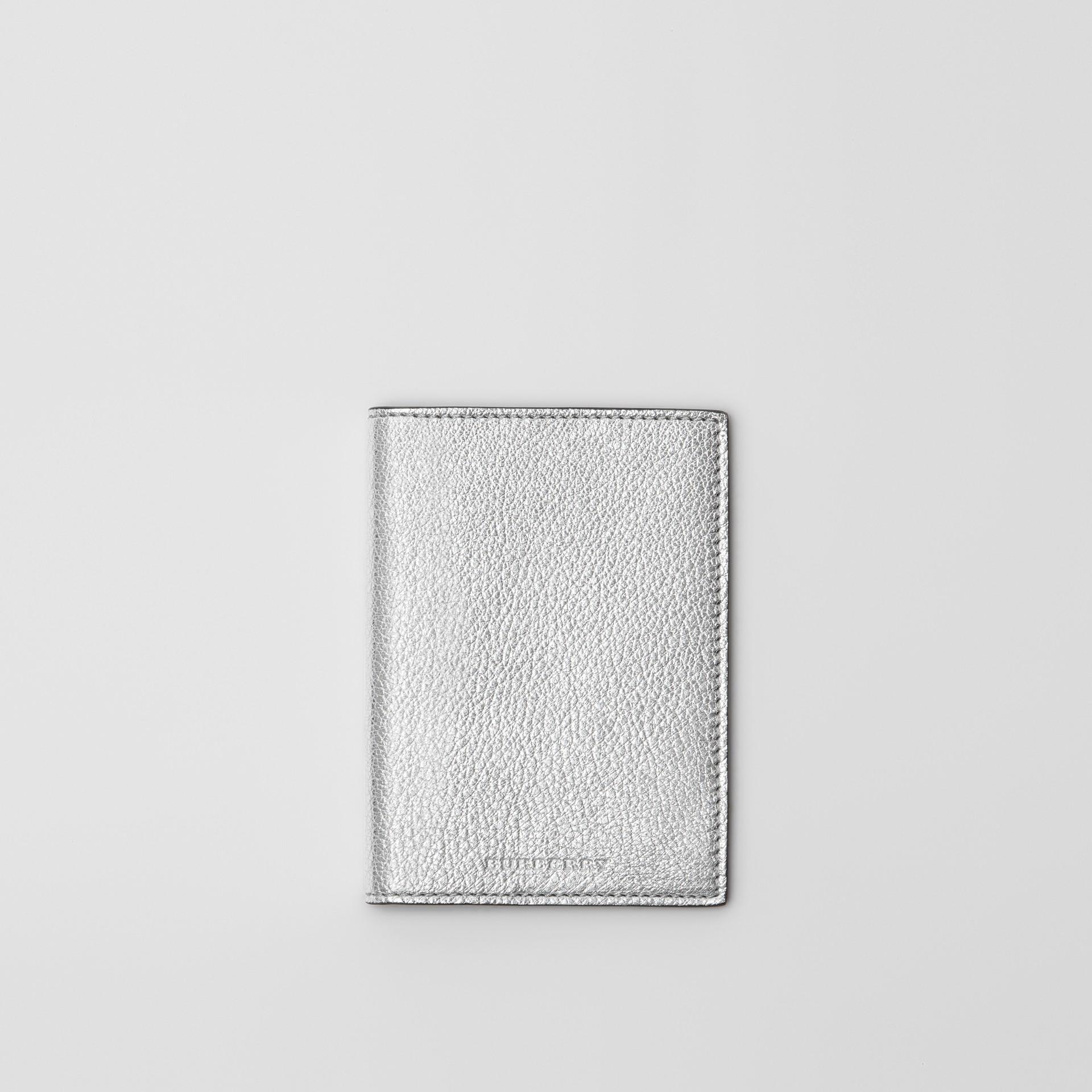Metallic Leather Passport Holder in Silver - Women | Burberry Australia - gallery image 0