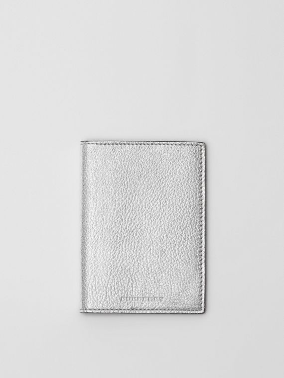 Metallic Leather Passport Holder in Silver