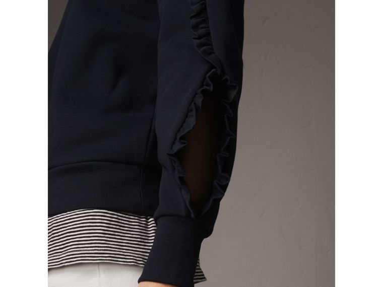 Ruffle-sleeve Sweatshirt in Navy - Women | Burberry - cell image 1