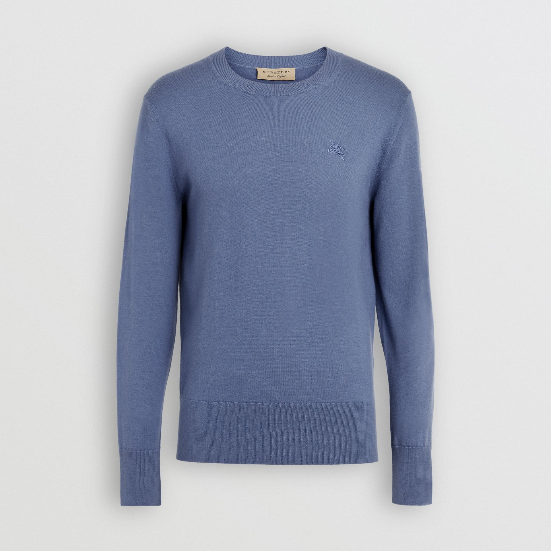 Crew Neck Cashmere Sweater in Airforce Blue - Men | Burberry United Kingdom - gallery image 3