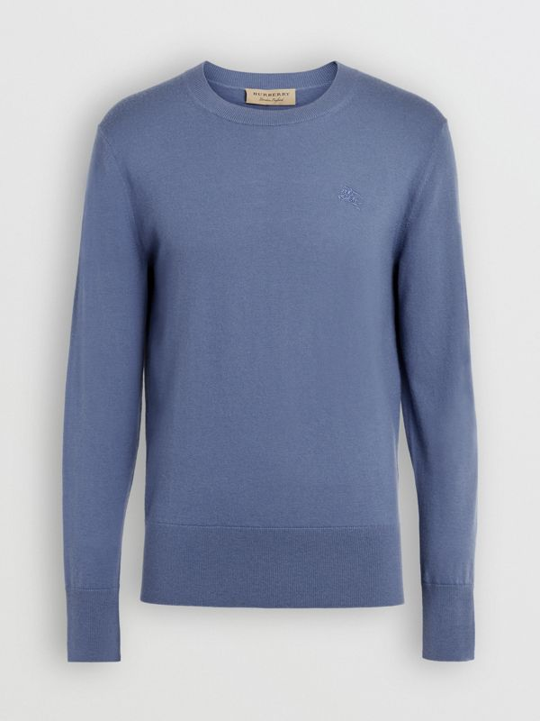 Crew Neck Cashmere Sweater in Airforce Blue - Men | Burberry - cell image 3