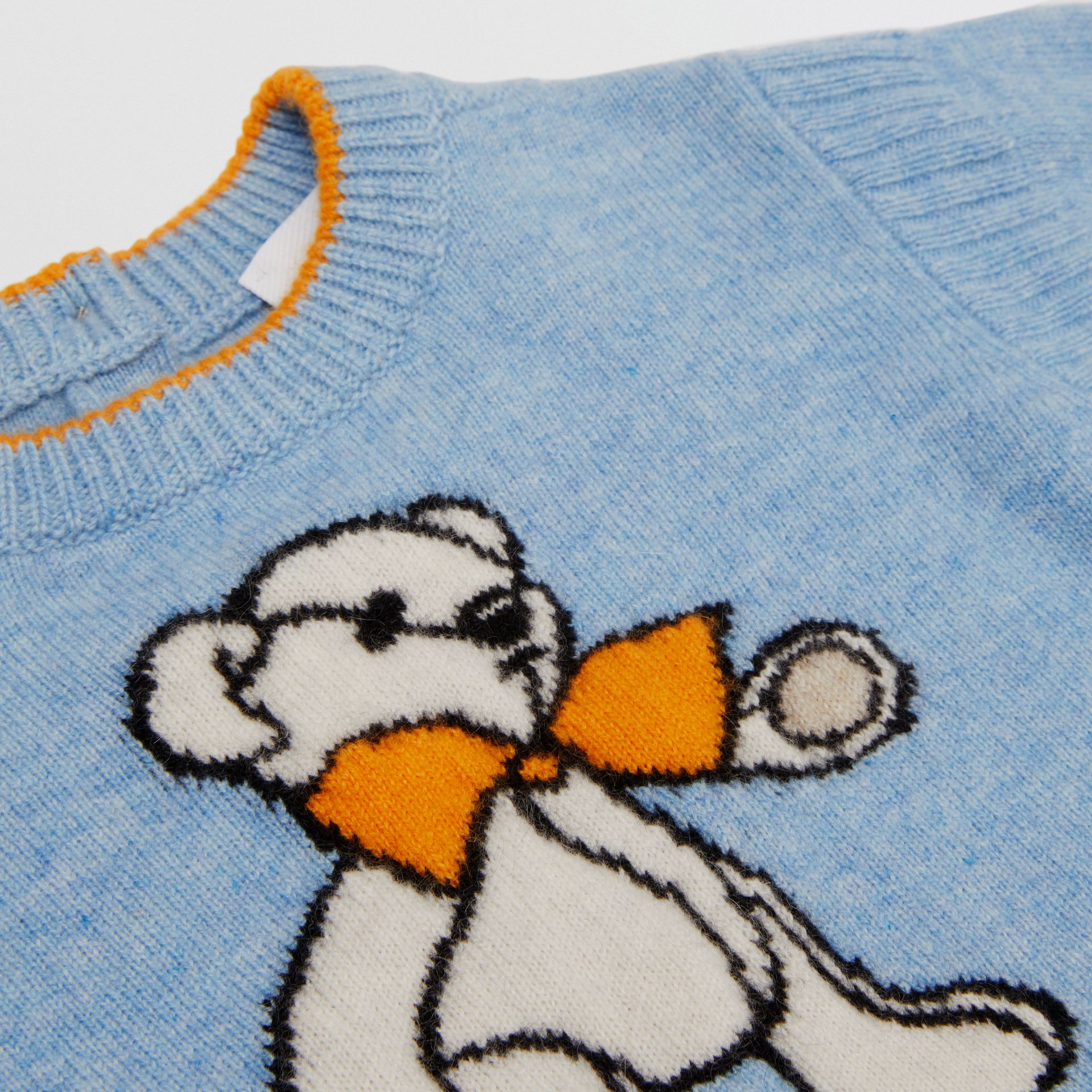 Bear Intarsia Wool Cashmere Two-piece Baby Gift Set in Pale Blue - Children | Burberry United Kingdom - gallery image 1
