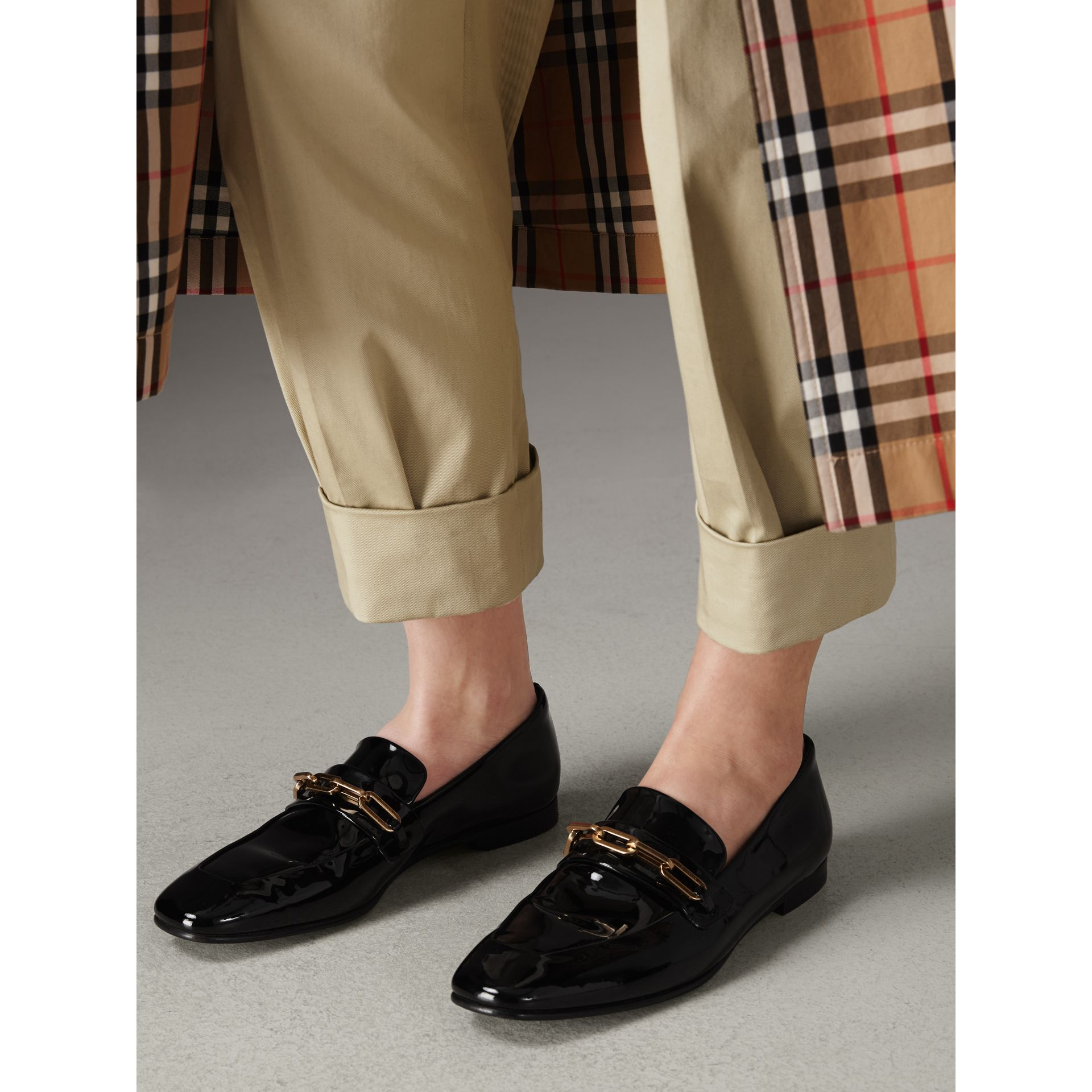 Link Detail Patent Leather Loafers in Black - Women | Burberry - gallery image 2