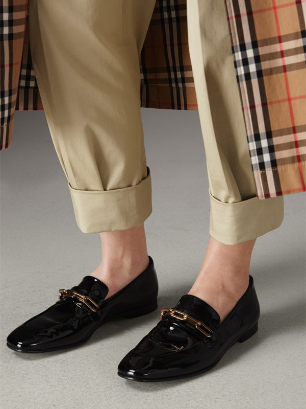 Link Detail Patent Leather Loafers in Black - Women | Burberry - cell image 2