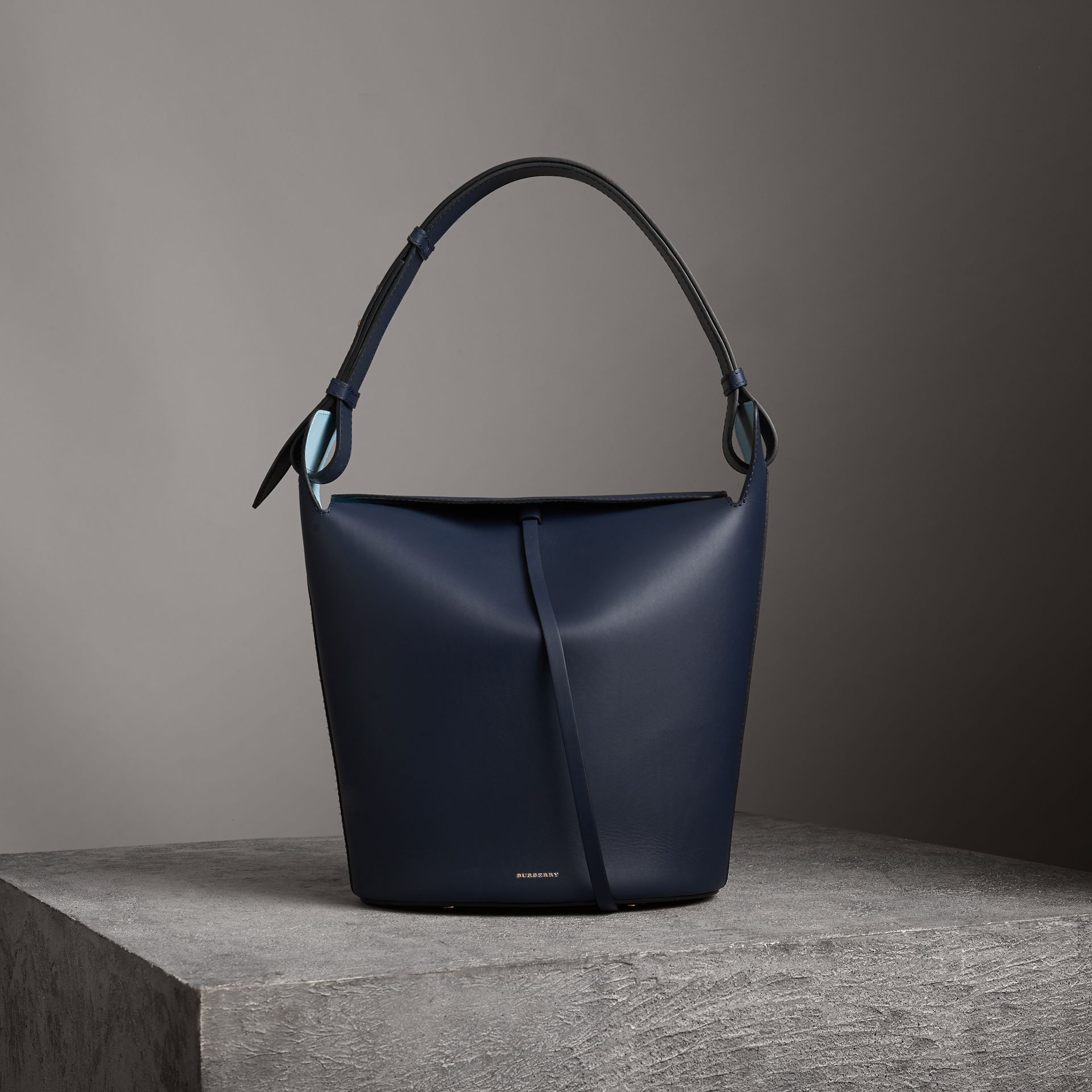 The Large Leather Bucket Bag in Mid Indigo - Women | Burberry Singapore - gallery image 0