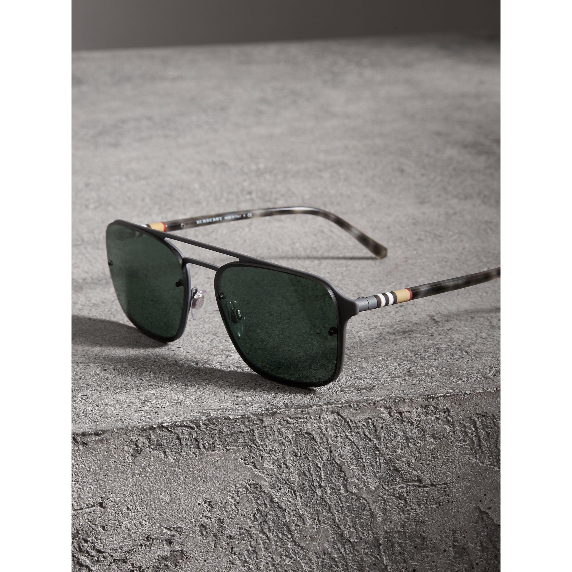 Square Frame Metal Sunglasses in Grey - Men | Burberry United States - gallery image 3