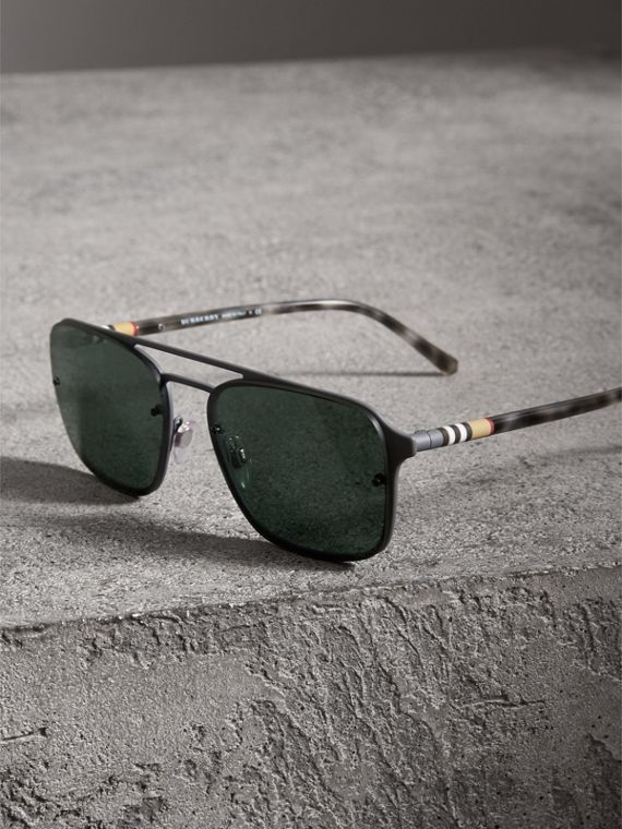 Square Frame Metal Sunglasses in Grey - Men | Burberry - cell image 3